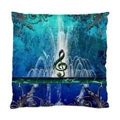 Clef With Water Splash And Floral Elements Standard Cushion Case (one Side)