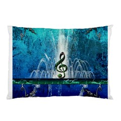 Clef With Water Splash And Floral Elements Pillow Cases