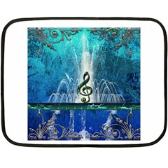 Clef With Water Splash And Floral Elements Fleece Blanket (Mini)