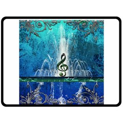 Clef With Water Splash And Floral Elements Fleece Blanket (Large)