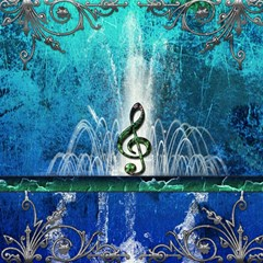 Clef With Water Splash And Floral Elements Magic Photo Cubes