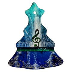 Clef With Water Splash And Floral Elements Ornament (Christmas Tree)