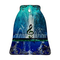 Clef With Water Splash And Floral Elements Bell Ornament (2 Sides)