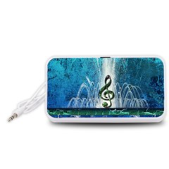 Clef With Water Splash And Floral Elements Portable Speaker (White)