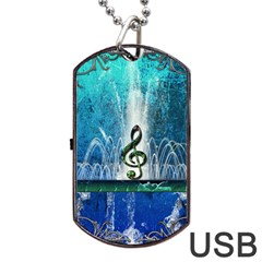 Clef With Water Splash And Floral Elements Dog Tag USB Flash (Two Sides)