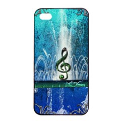 Clef With Water Splash And Floral Elements Apple iPhone 4/4s Seamless Case (Black)