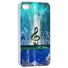 Clef With Water Splash And Floral Elements Apple iPhone 4/4s Seamless Case (White)
