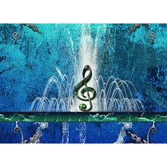 Clef With Water Splash And Floral Elements Birthday Cake 3D Greeting Card (7x5)