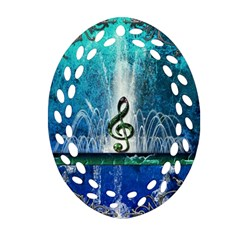 Clef With Water Splash And Floral Elements Oval Filigree Ornament (2-Side)