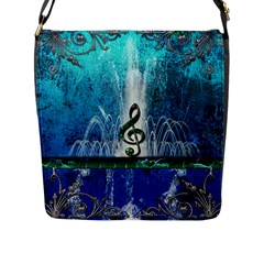 Clef With Water Splash And Floral Elements Flap Messenger Bag (l)