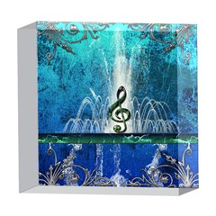 Clef With Water Splash And Floral Elements 5  x 5  Acrylic Photo Blocks