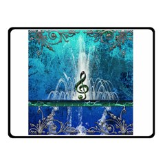 Clef With Water Splash And Floral Elements Double Sided Fleece Blanket (Small)