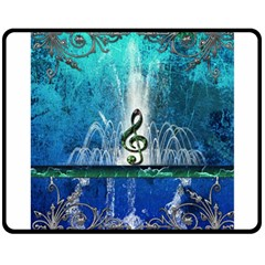 Clef With Water Splash And Floral Elements Double Sided Fleece Blanket (medium)
