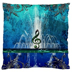 Clef With Water Splash And Floral Elements Large Flano Cushion Cases (Two Sides)