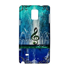 Clef With Water Splash And Floral Elements Samsung Galaxy Note 4 Hardshell Case