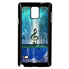 Clef With Water Splash And Floral Elements Samsung Galaxy Note 4 Case (Black)