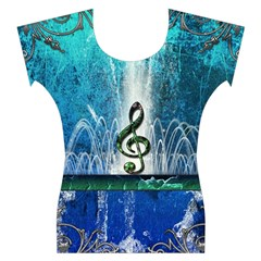 Clef With Water Splash And Floral Elements Women s Cap Sleeve Top