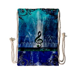 Clef With Water Splash And Floral Elements Drawstring Bag (Small)