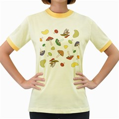 Mushrooms Pattern 02 Women s Fitted Ringer T Shirts