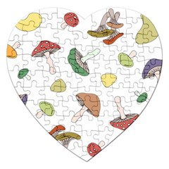Mushrooms Pattern 02 Jigsaw Puzzle (heart)