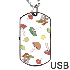 Mushrooms Pattern 02 Dog Tag USB Flash (One Side)