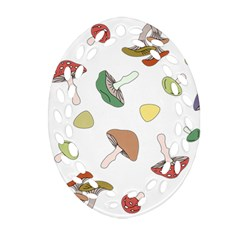 Mushrooms Pattern 02 Oval Filigree Ornament (2 Side)