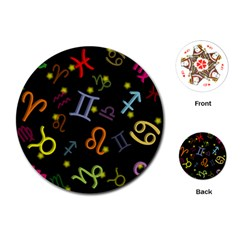 All Floating Zodiac Signs Playing Cards (Round)