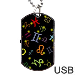 All Floating Zodiac Signs Dog Tag USB Flash (Two Sides)