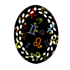 All Floating Zodiac Signs Oval Filigree Ornament (2-Side)