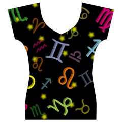 All Floating Zodiac Signs Women s V-Neck Cap Sleeve Top