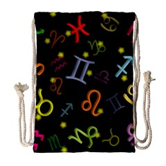 All Floating Zodiac Signs Drawstring Bag (large)
