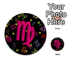 Virgo Floating Zodiac Sign Multi-purpose Cards (Round)