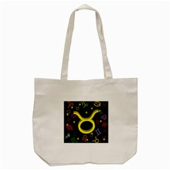 Taurus Floating Zodiac Sign Tote Bag (Cream)