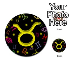 Taurus Floating Zodiac Sign Multi Purpose Cards (round)