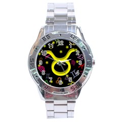 Taurus Floating Zodiac Sign Stainless Steel Men s Watch