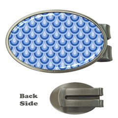 Awesome Retro Pattern Blue Money Clips (oval)