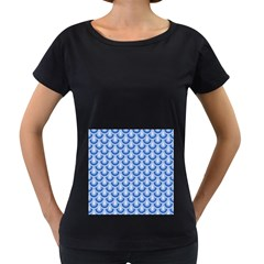 Awesome Retro Pattern Blue Women s Loose Fit T Shirt (black)