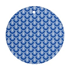 Awesome Retro Pattern Blue Round Ornament (two Sides)