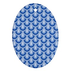 Awesome Retro Pattern Blue Oval Ornament (two Sides)