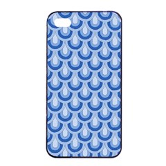Awesome Retro Pattern Blue Apple iPhone 4/4s Seamless Case (Black)