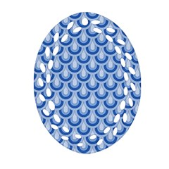 Awesome Retro Pattern Blue Oval Filigree Ornament (2-Side)