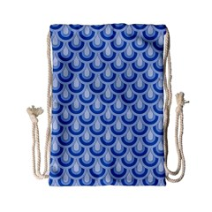 Awesome Retro Pattern Blue Drawstring Bag (Small)