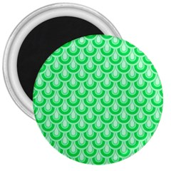 Awesome Retro Pattern Green 3  Magnets