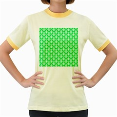 Awesome Retro Pattern Green Women s Fitted Ringer T-Shirts