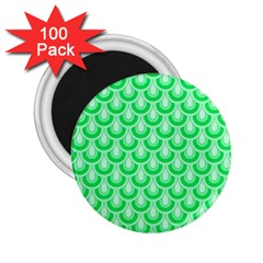 Awesome Retro Pattern Green 2 25  Magnets (100 Pack)
