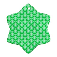 Awesome Retro Pattern Green Snowflake Ornament (2-Side)