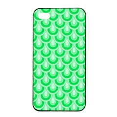 Awesome Retro Pattern Green Apple iPhone 4/4s Seamless Case (Black)