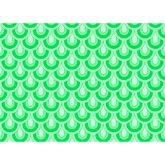 Awesome Retro Pattern Green Birthday Cake 3D Greeting Card (7x5)