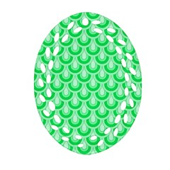 Awesome Retro Pattern Green Oval Filigree Ornament (2 Side)