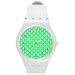 Awesome Retro Pattern Green Round Plastic Sport Watch (m)